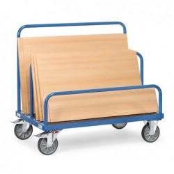 Chariot porte-panneaux plateau pour 7 ridelles