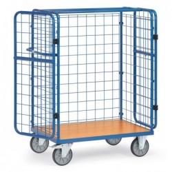 Chariot pour colis en treillis avec portes battantes