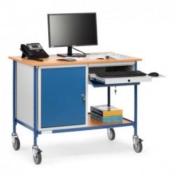 Table roulante avec 1 placard 1 tiroir support clavier
